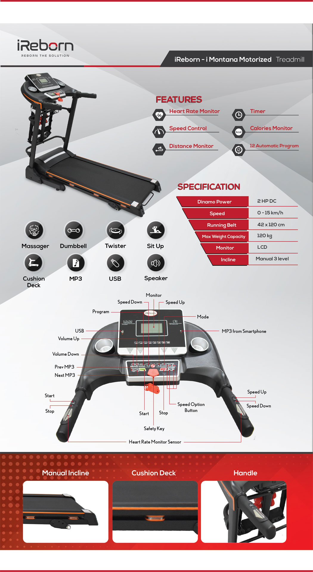 i-Montana Motorized Treadmill 21
