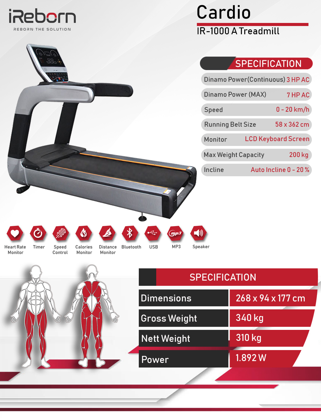 IR-1000A Motorized Treadmill 10