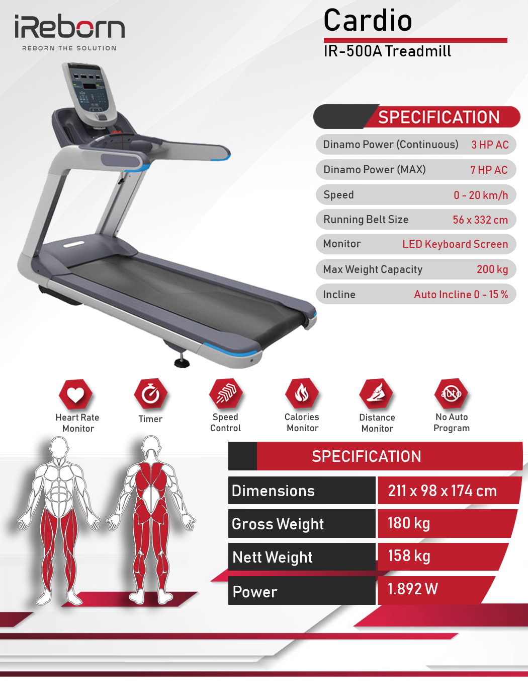 IR-500A Motorized Treadmill 8