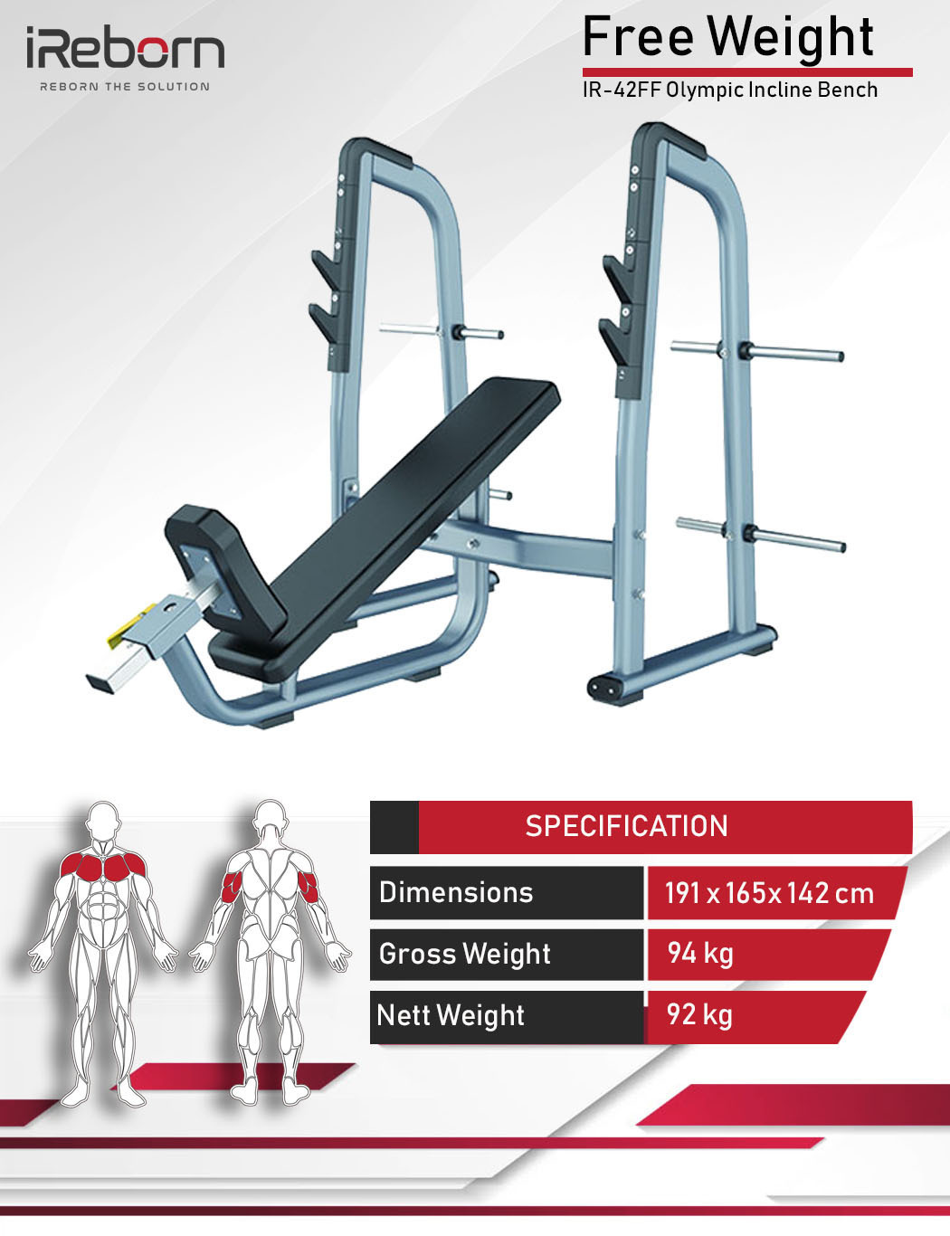 IR-42FF Olympic Incline Bench 10