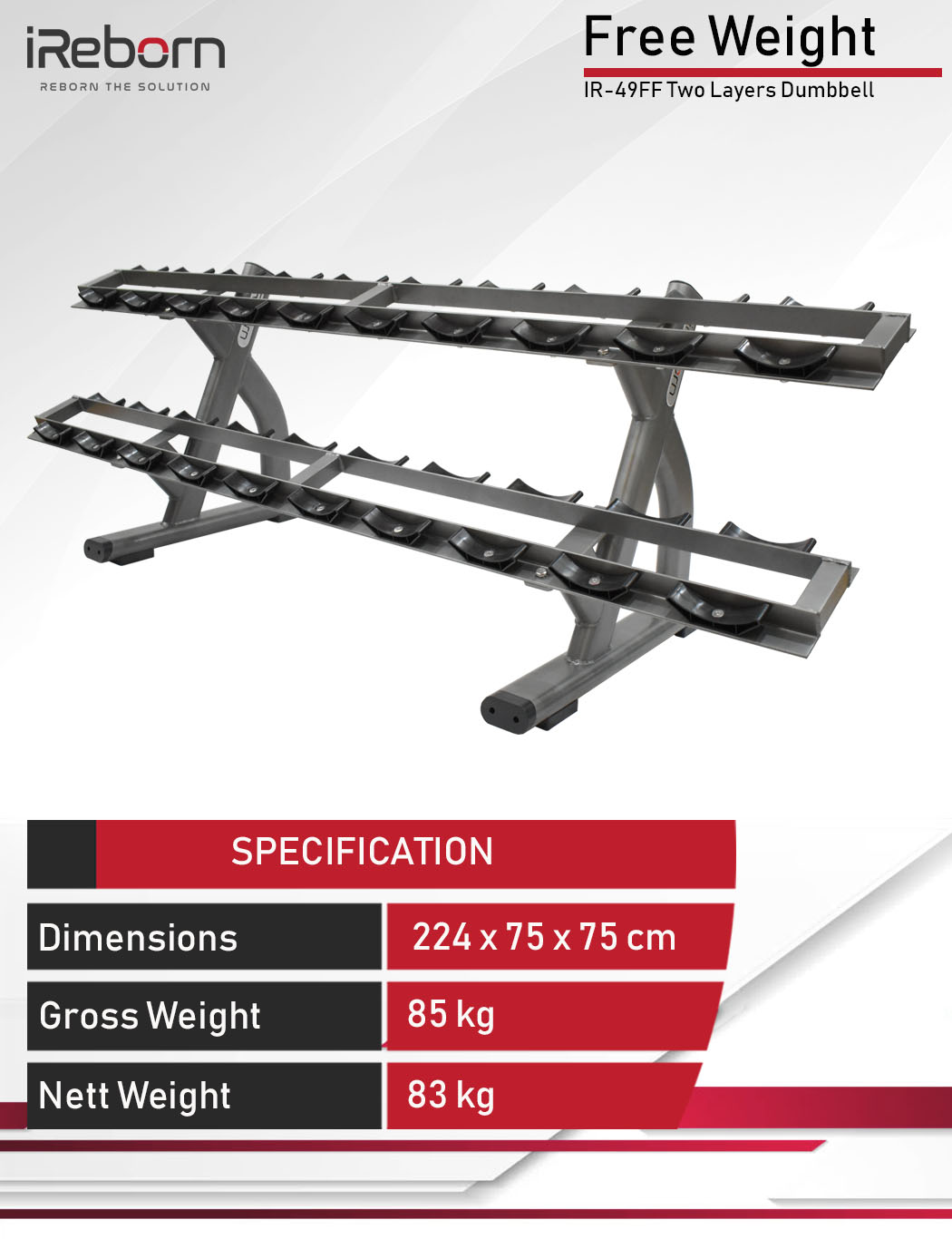 IR-49FF Two Layers Dumbbell Rack 6