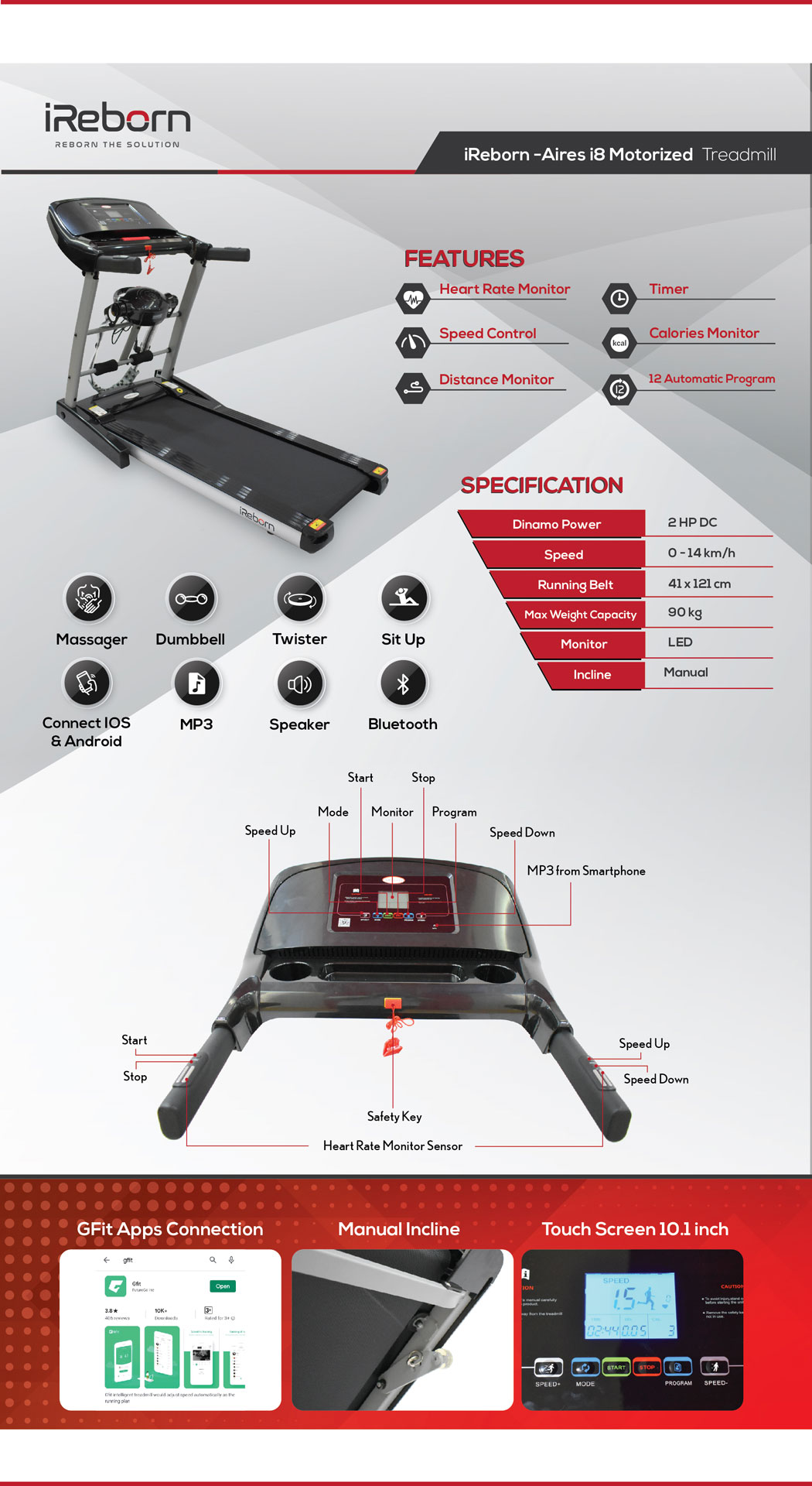 Aires i8 Motorized Treadmill 20